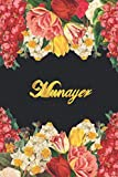 Munayer: Lined Notebook / Journal with Personalized Name, & Monogram initial M on the Back Cover, Floral cover, Gift for Girls & Women