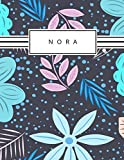 Nora: Personalized blue flowers sketchbook with name: 120 Pages